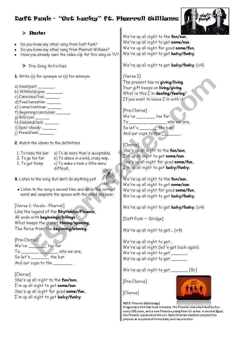 Get Lucky Daft Punk Esl Worksheet By Ferdinand120 However, these words or phrases may match your search esl printables