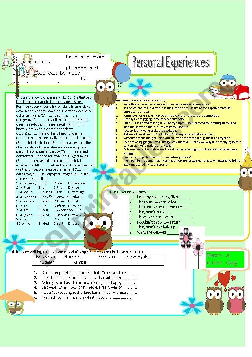 Personal Experiences worksheet