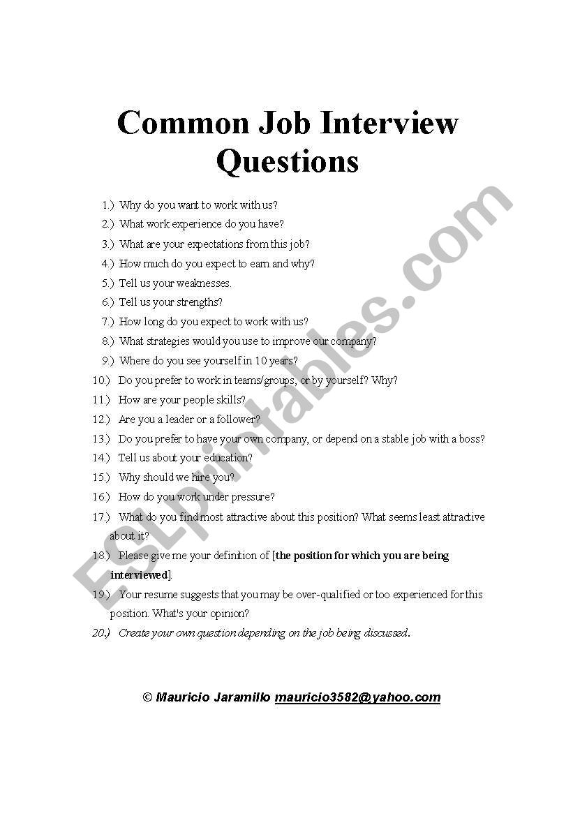Common Job Interview Questions Esl Worksheet By Mauricio3582