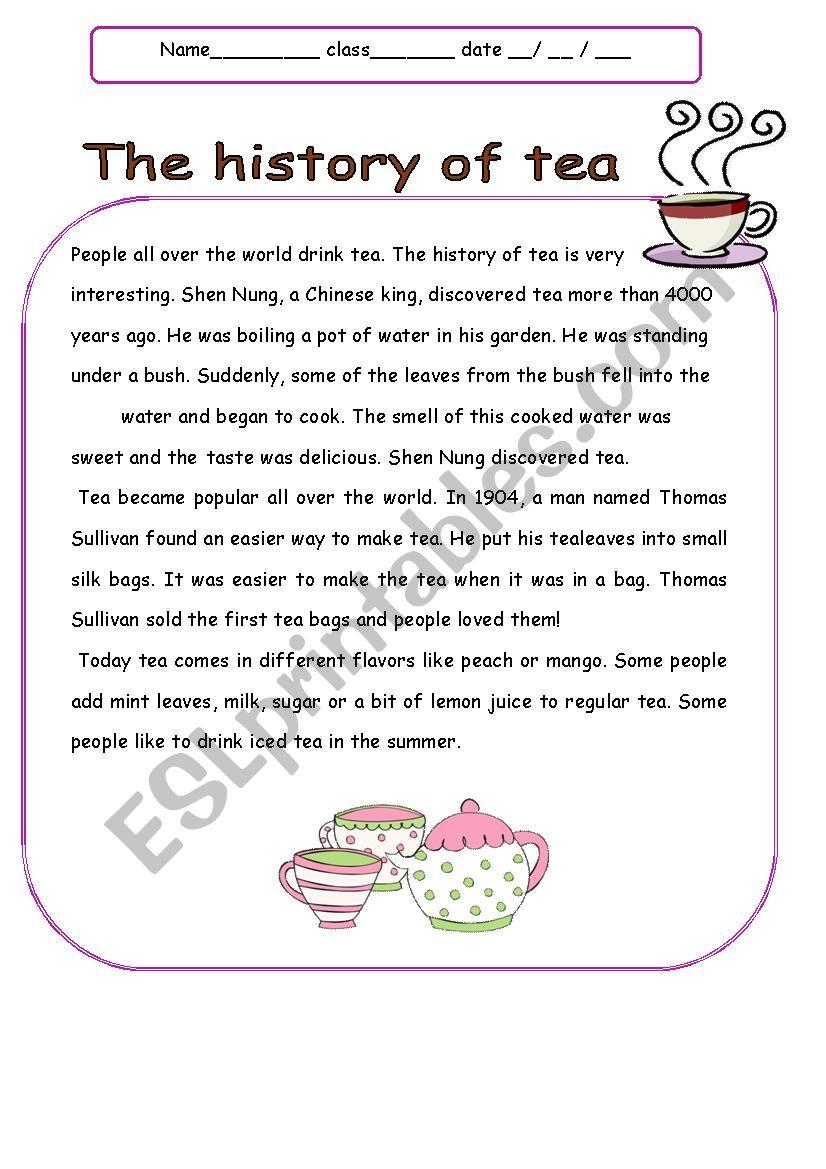 The History of Tea worksheet