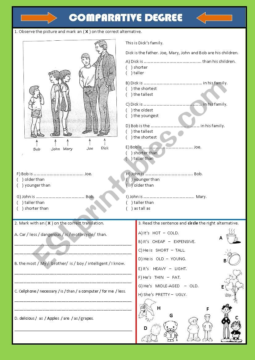 COMPARATIVE DEGREES worksheet
