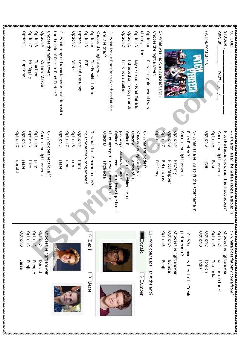 MOVIE: PITCH PERFECT worksheet