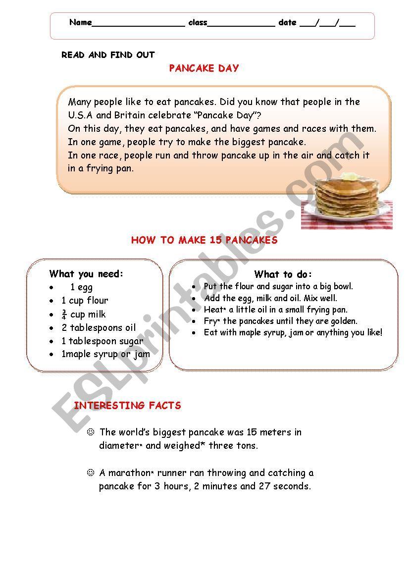 Pancake Day worksheet