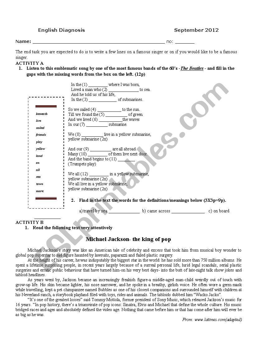English Diagnosis Test 10th grade