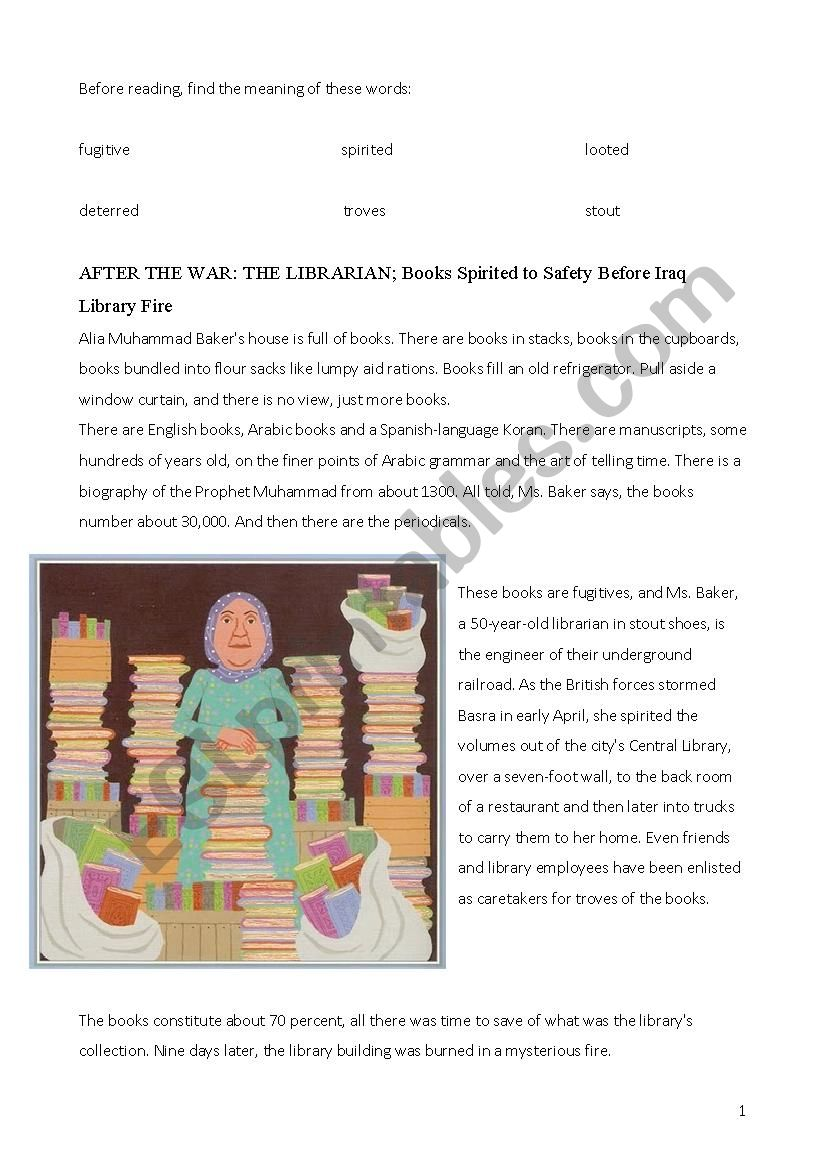 Librarian of Basra - reading, comprehension questions, past