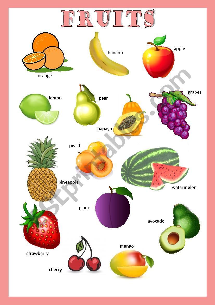 Pictionary: Fruits worksheet
