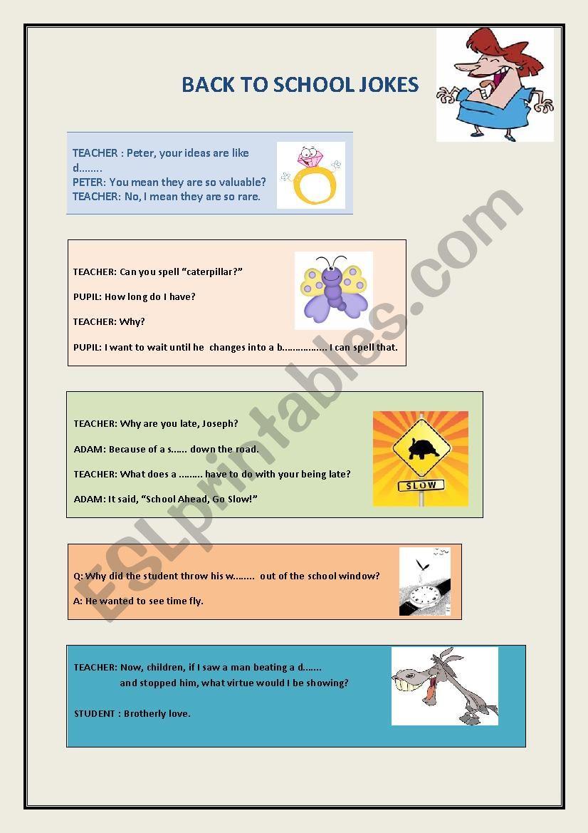 Back to school jokes- all kids will love them! - ESL