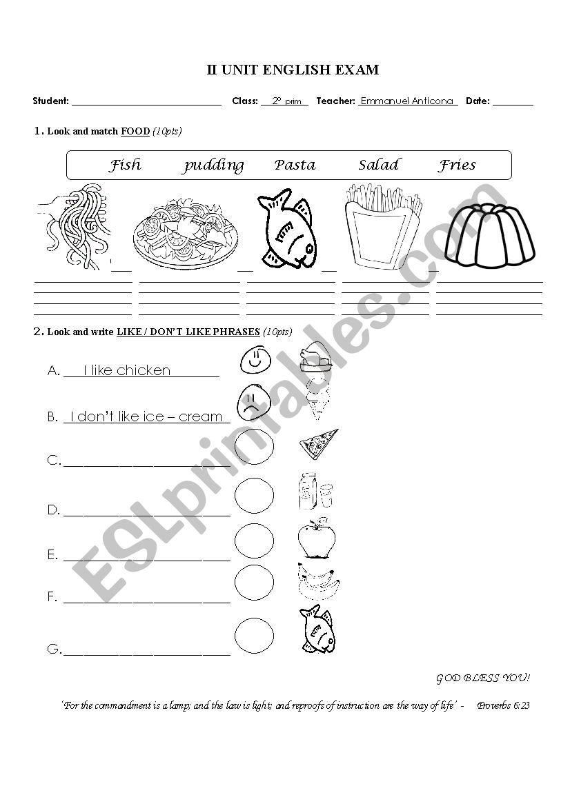 2nd primary English exam - ESL worksheet by iker_2006