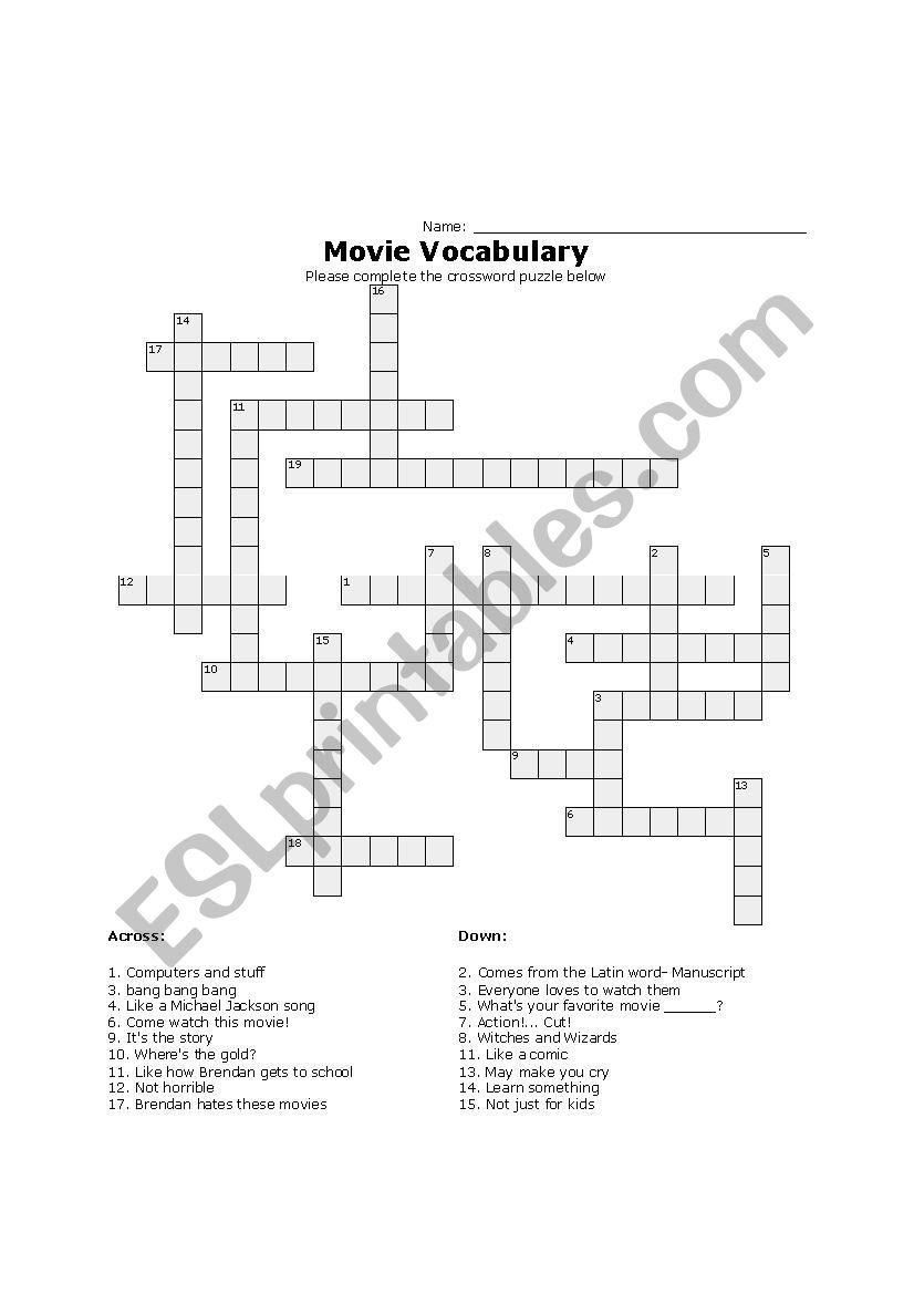 Movie Vocab Crossword - ESL worksheet by brendan_duncan