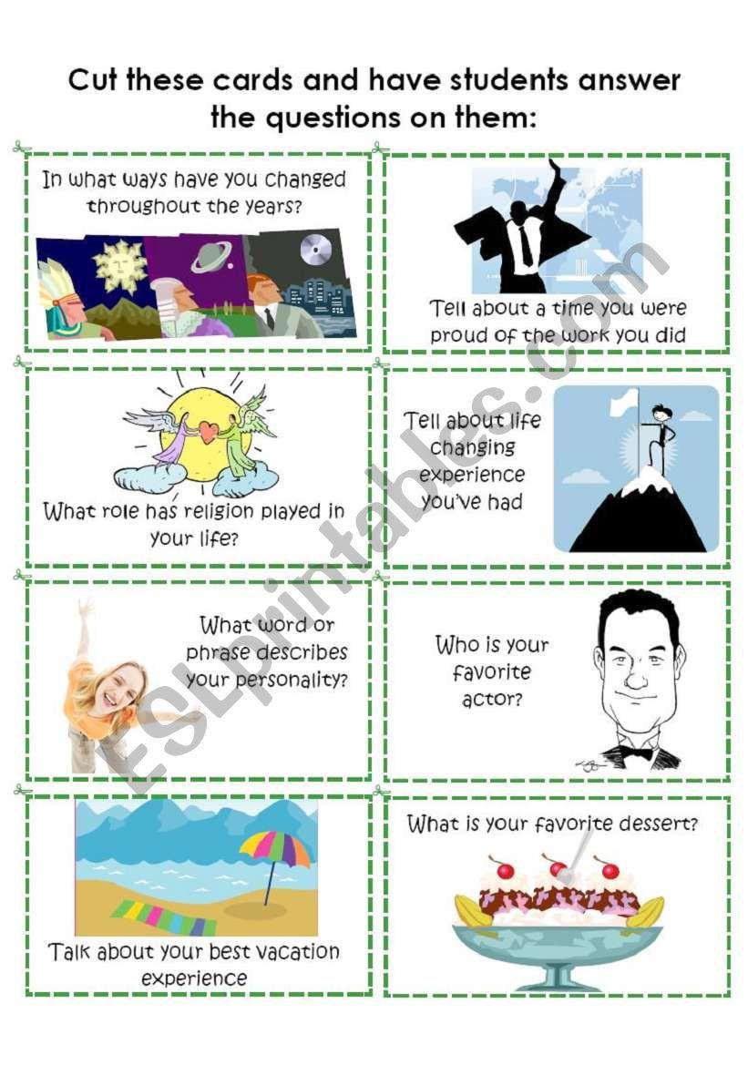 Conversation Cards 3 of 8 worksheet