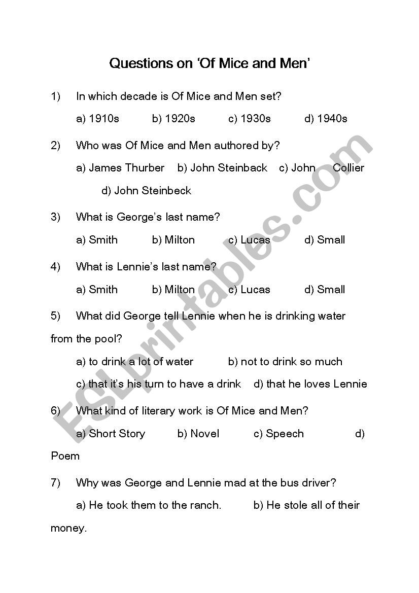 of mice and men together with Unled moreover Questions on ´Of Mice and Men´   ESL worksheet by Rakkhun1350 as well Of Mice and Men Worksheet   American Dream Theme Study – The besides  in addition of mice and men vocabulary worksheets – trungcollection moreover Of Mice and Men Section Six   ppt video online download in addition Of Mice and Men Study Questions  Ch3    Yazid Amrani English 10 Of furthermore Of Mice And Men  bo LitPlan   Teacher Guide  Lesson Plans  Puzzles besides Of Mice and Men Puzzle Pack   Activities  Worksheets  Games furthermore Of Mice and Men by John Steinbeck Unit Test by MrsNick   Clic also Of Mice And Men Worksheet Answers The best worksheets image besides And Men Worksheets Of Mice Movie Worksheet Novella Film Super also Printables Of Mice And Men Worksheet Safarmediapps  Of Mice And Men in addition Of Mice and Men Puzzle Pack   Activities  Worksheets  Games additionally Of Mice and Men Worksheets. on of mice and men worksheets