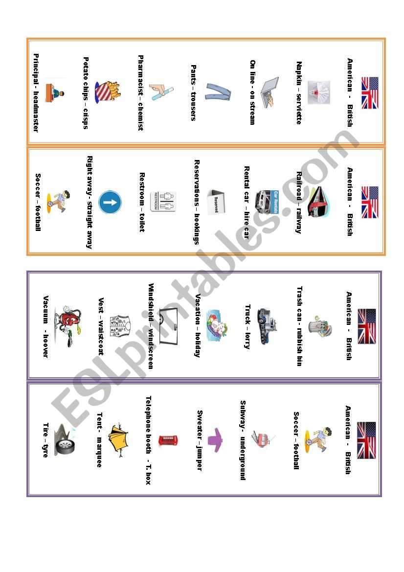 British-American worksheet