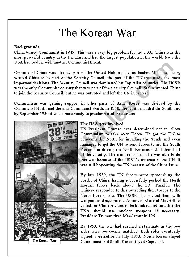 Worksheets Korean War Worksheet korean war esl worksheet by ginalee81 worksheet