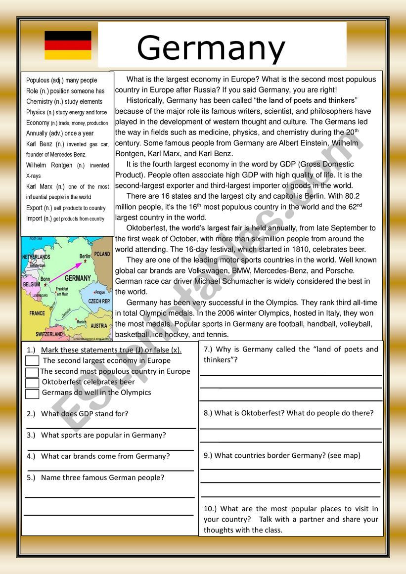 - Germany Reading Comprehension Practice Exercises With Definitions