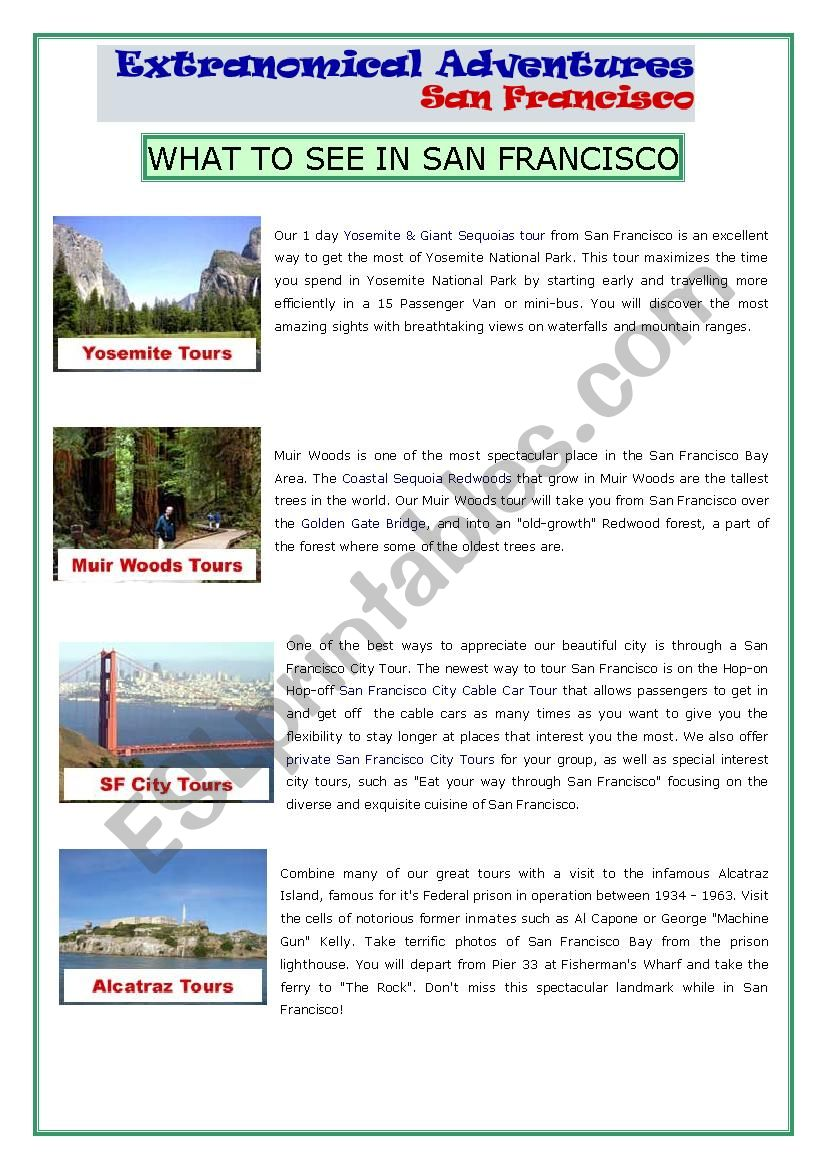 San Francisco Tours worksheet