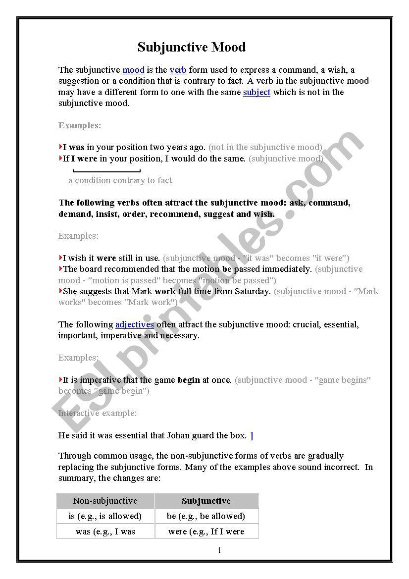 subjunctive mood esl worksheet by diadora. Black Bedroom Furniture Sets. Home Design Ideas