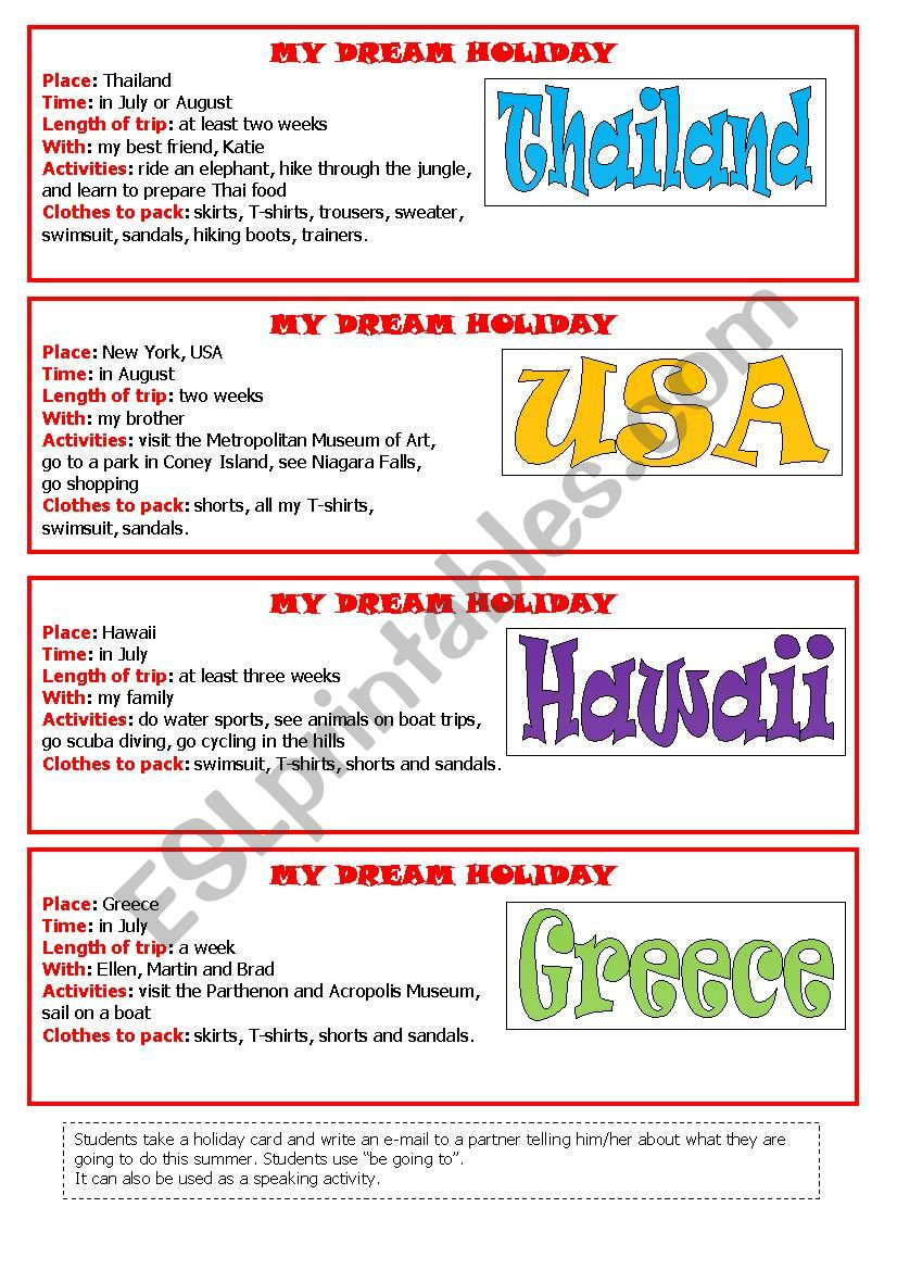 My dream holiday new worksheet