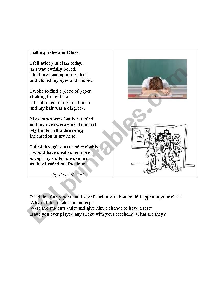 A FUNNY EVENT AT SCHOOL (a poem) - ESL worksheet by korova-daisy