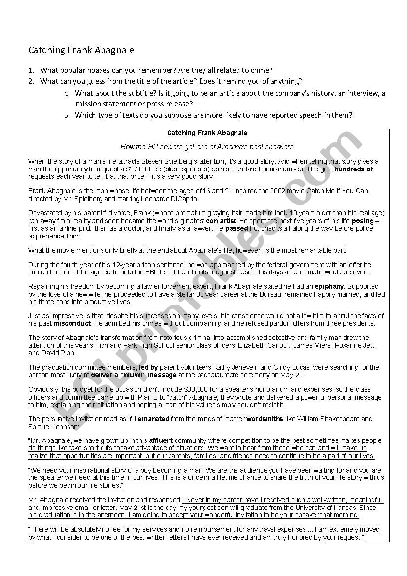 Catching Frank Abagnale - ESL worksheet by VictoriaC