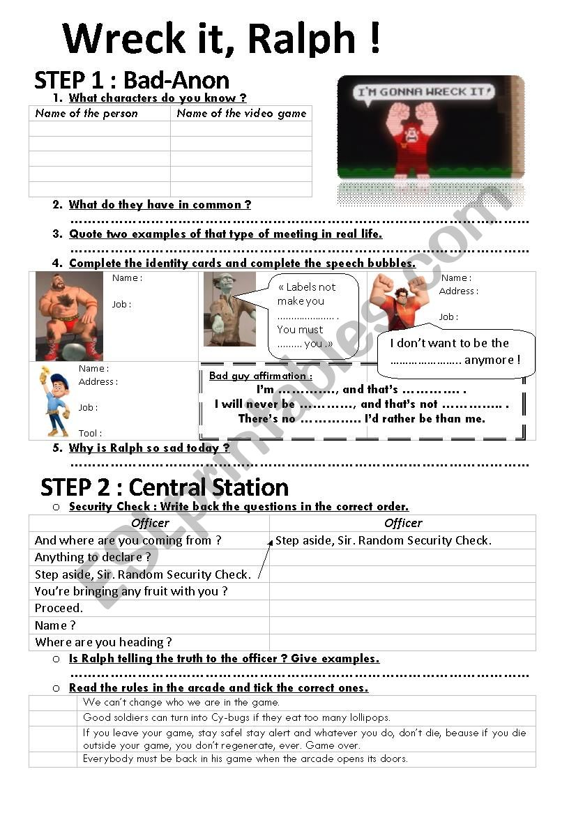 Wreck it, Ralph! worksheet