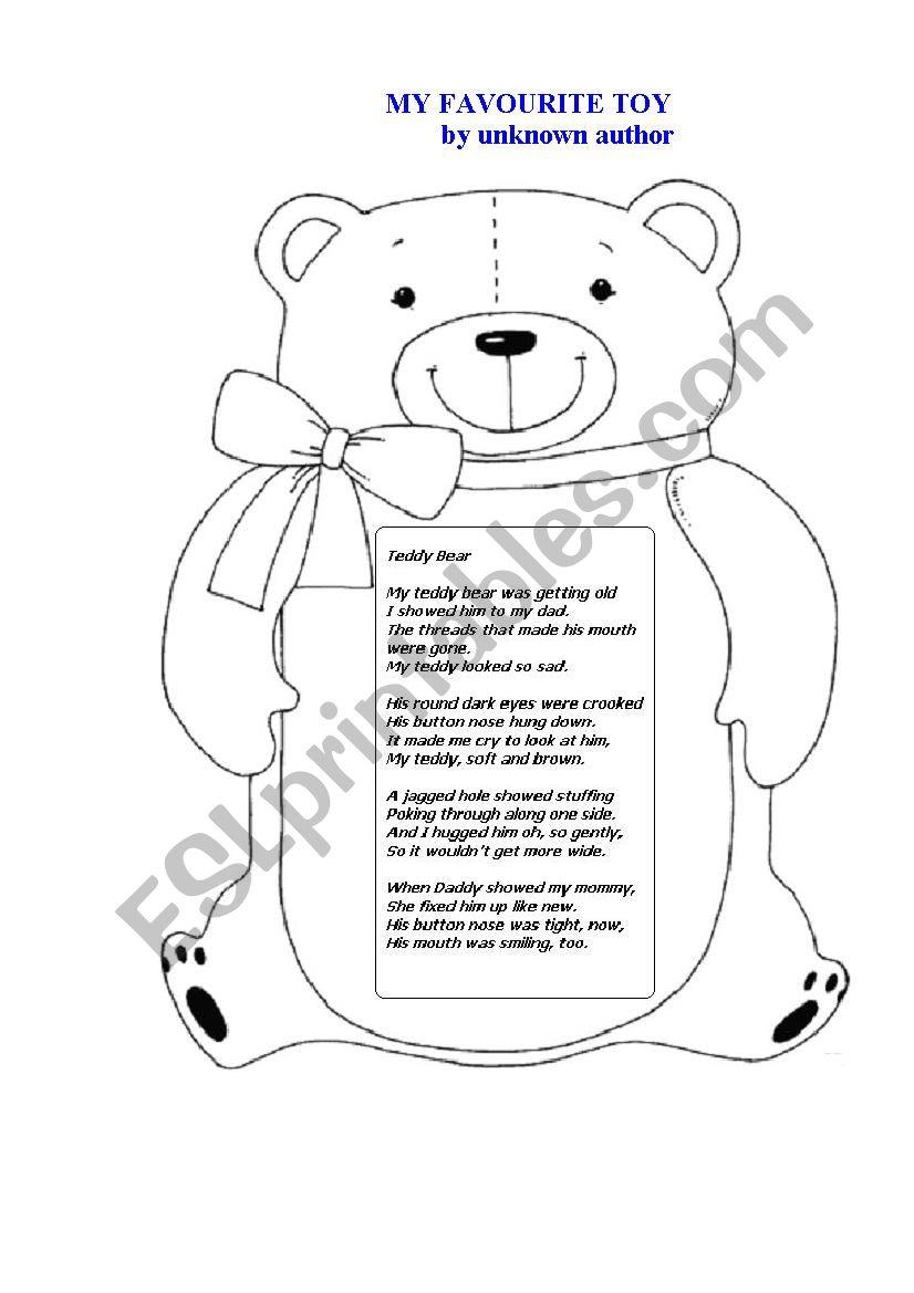 TEDDY BEAR (a poem) worksheet