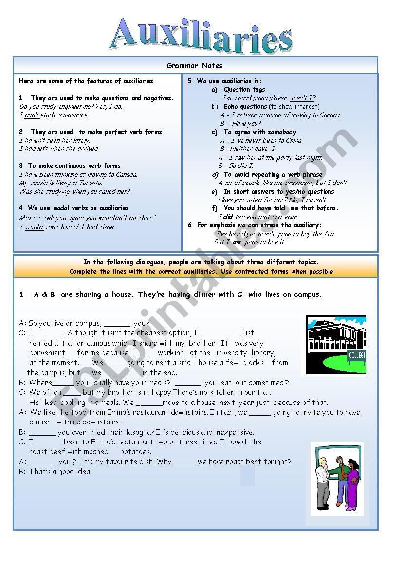 Auxiliaries worksheet