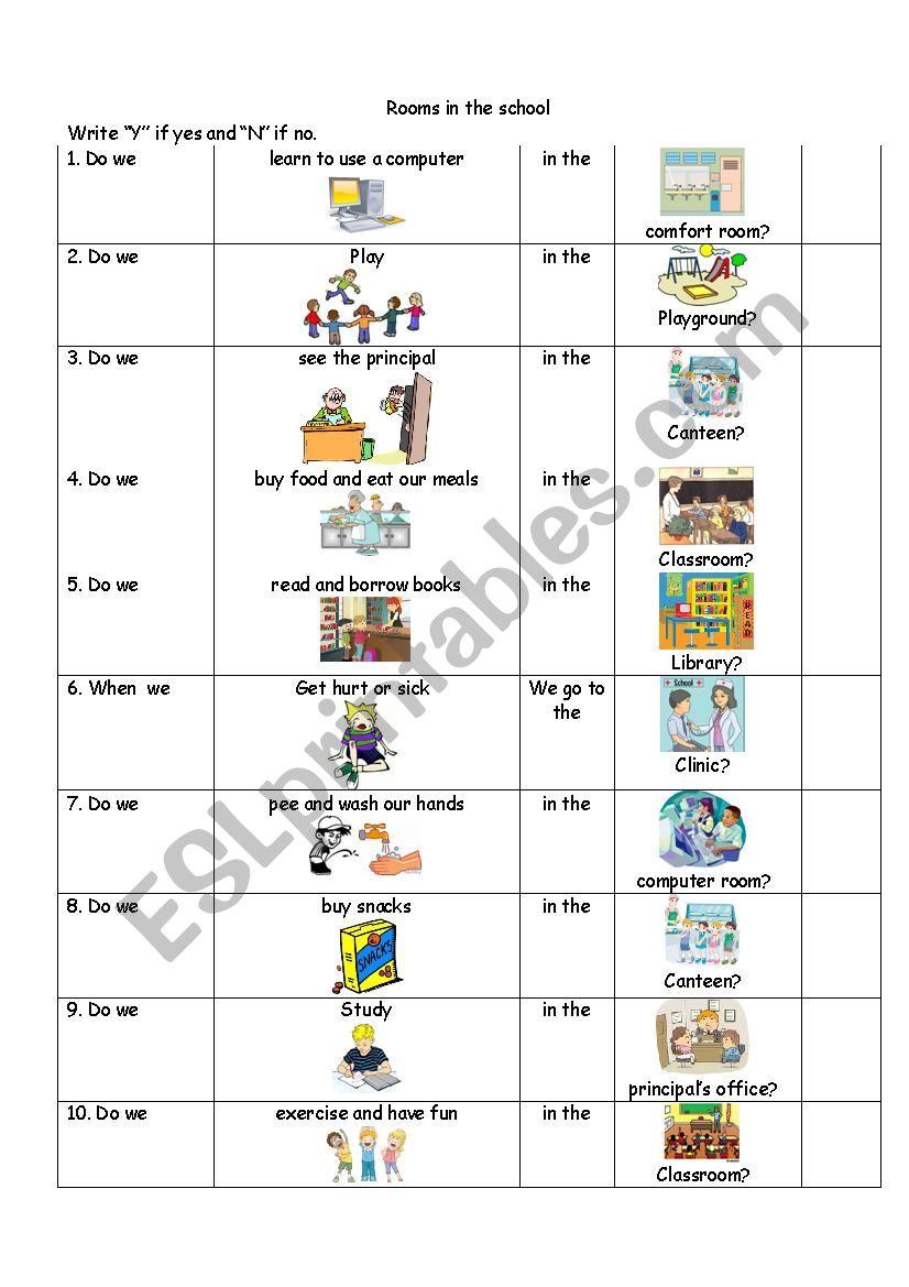 Rooms Worksheet: ESL Worksheet By Winmary18