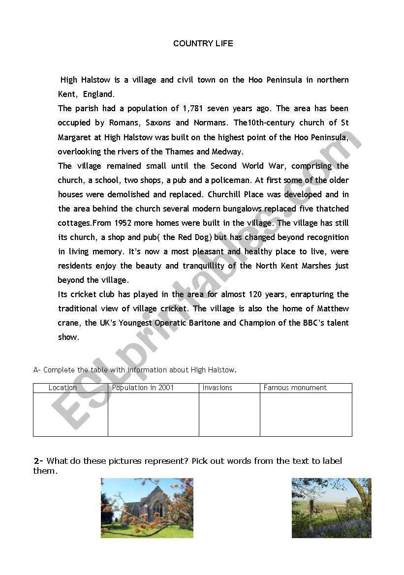 countryside worksheet