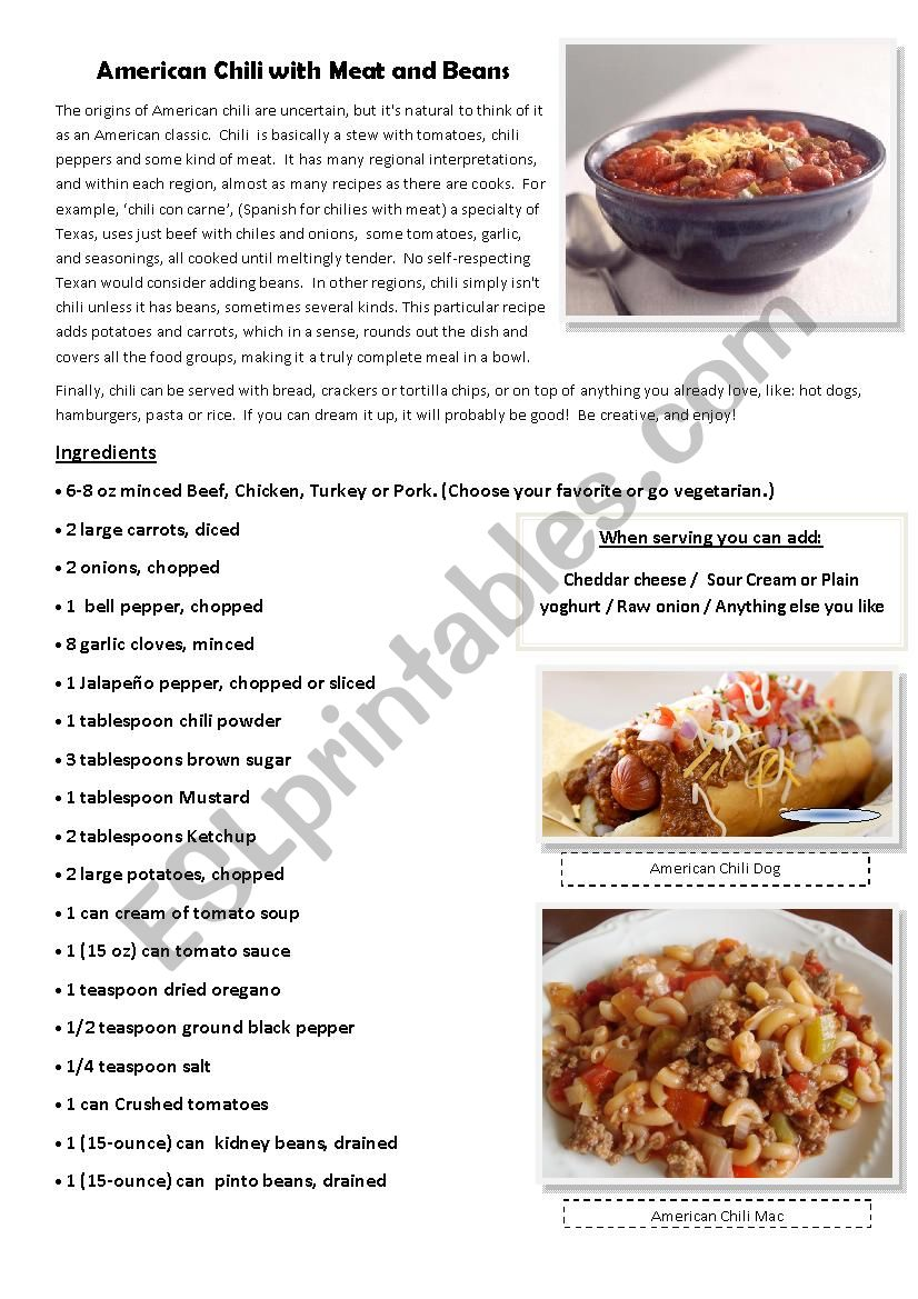 Cooking American Chili 1 of 3 worksheet