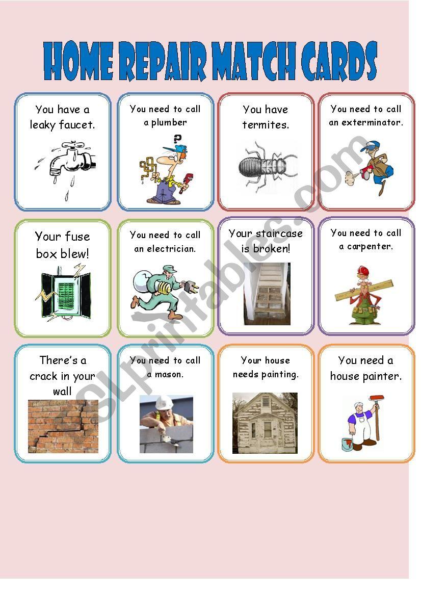 Home Repair Match Cards 1/2 worksheet