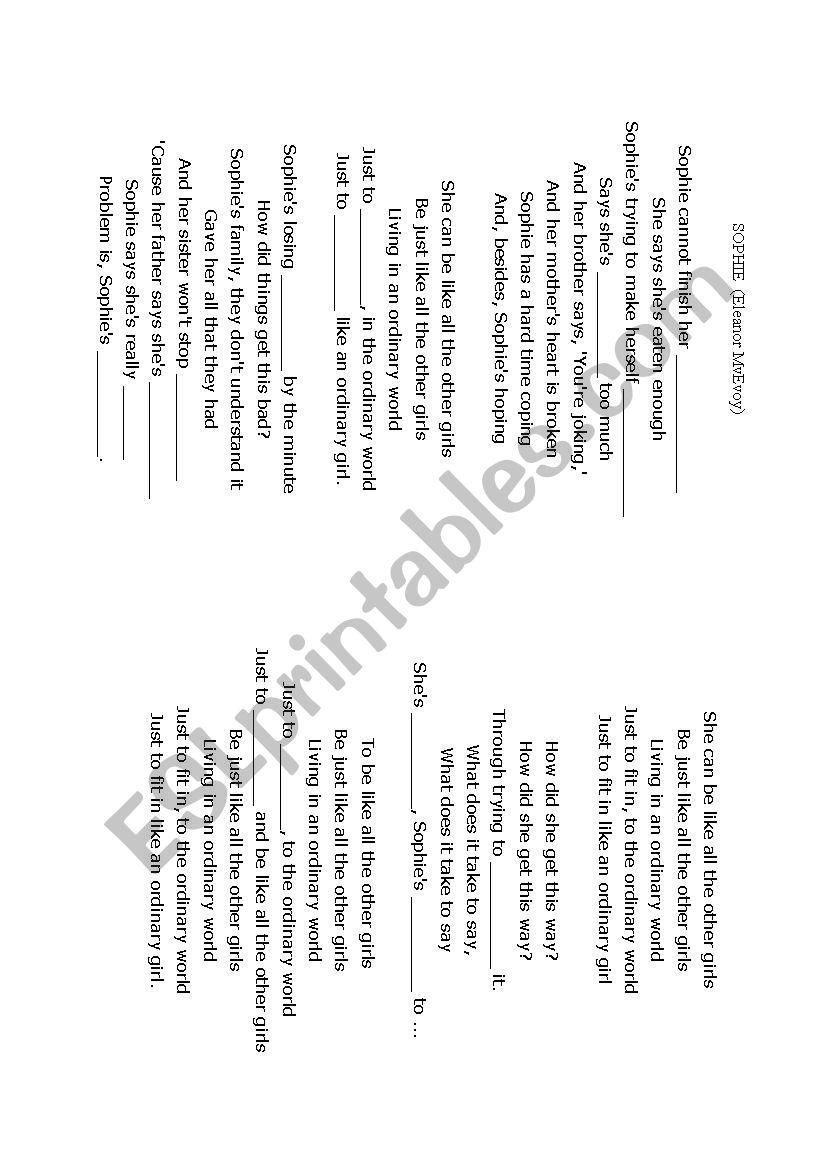 Sophie. Song by Eleanor MvEvoy - ESL worksheet by wendychan
