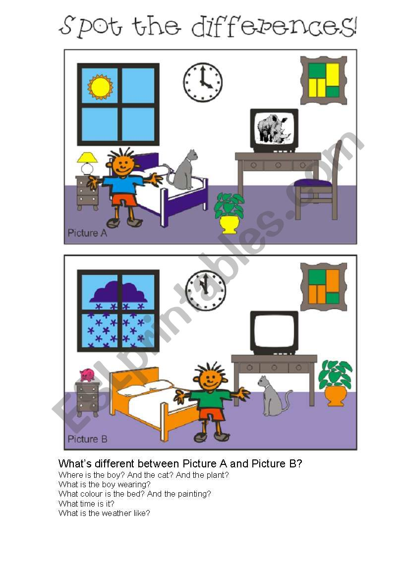Spot the differences 6 worksheet
