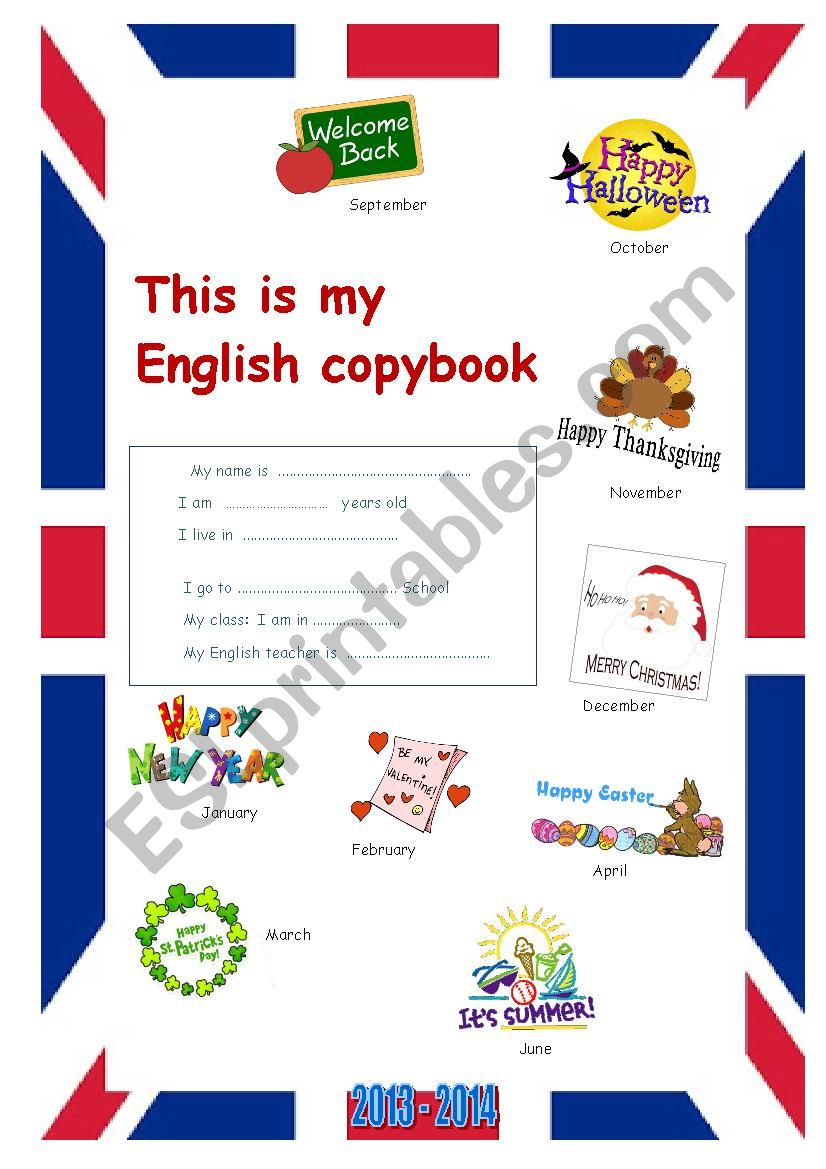 Cover, first page for notebook copybook 2013 2014