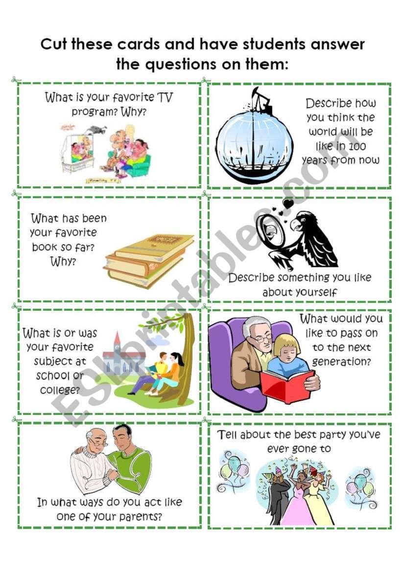 Conversation Cards 6 of 8 worksheet