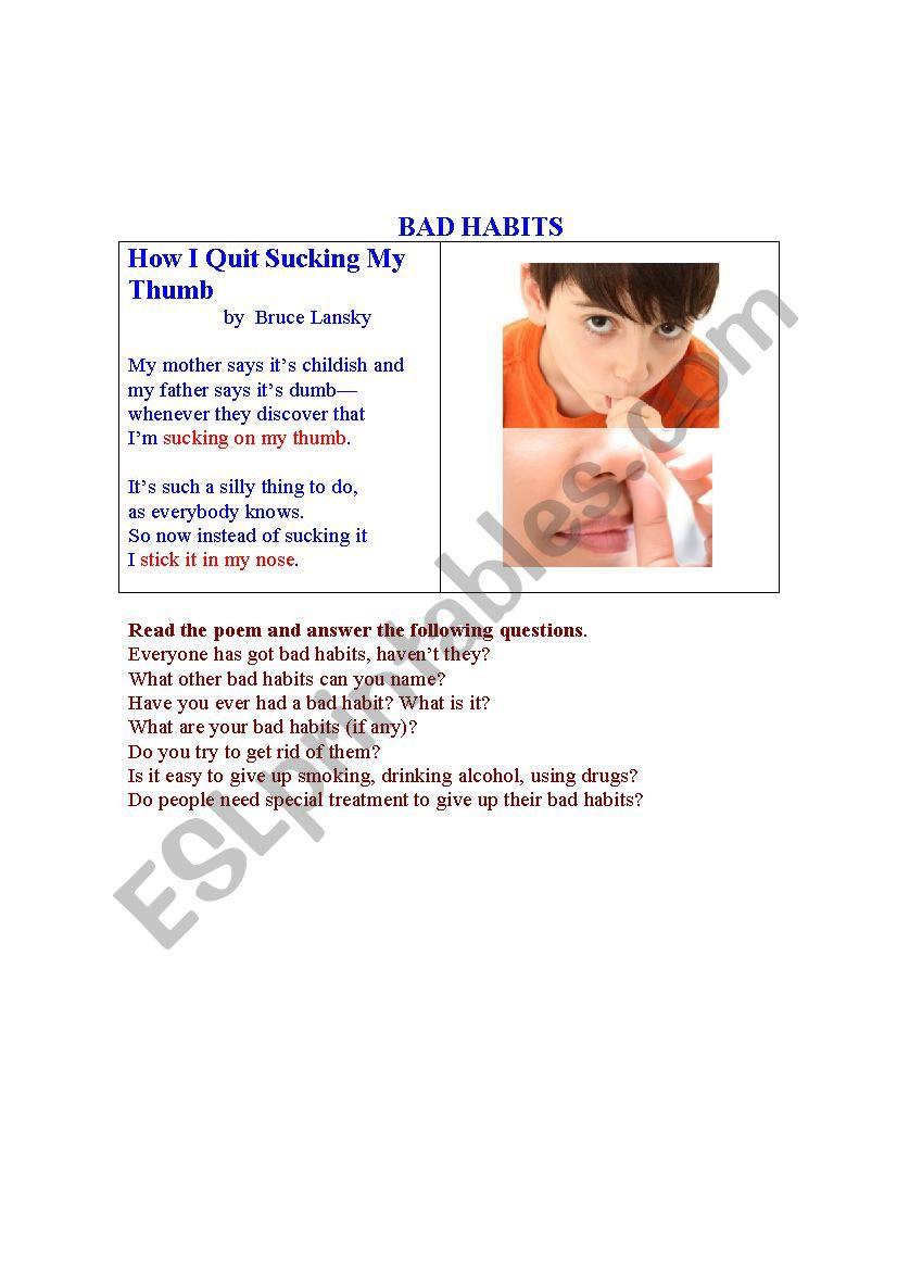 BAD HABITS worksheet