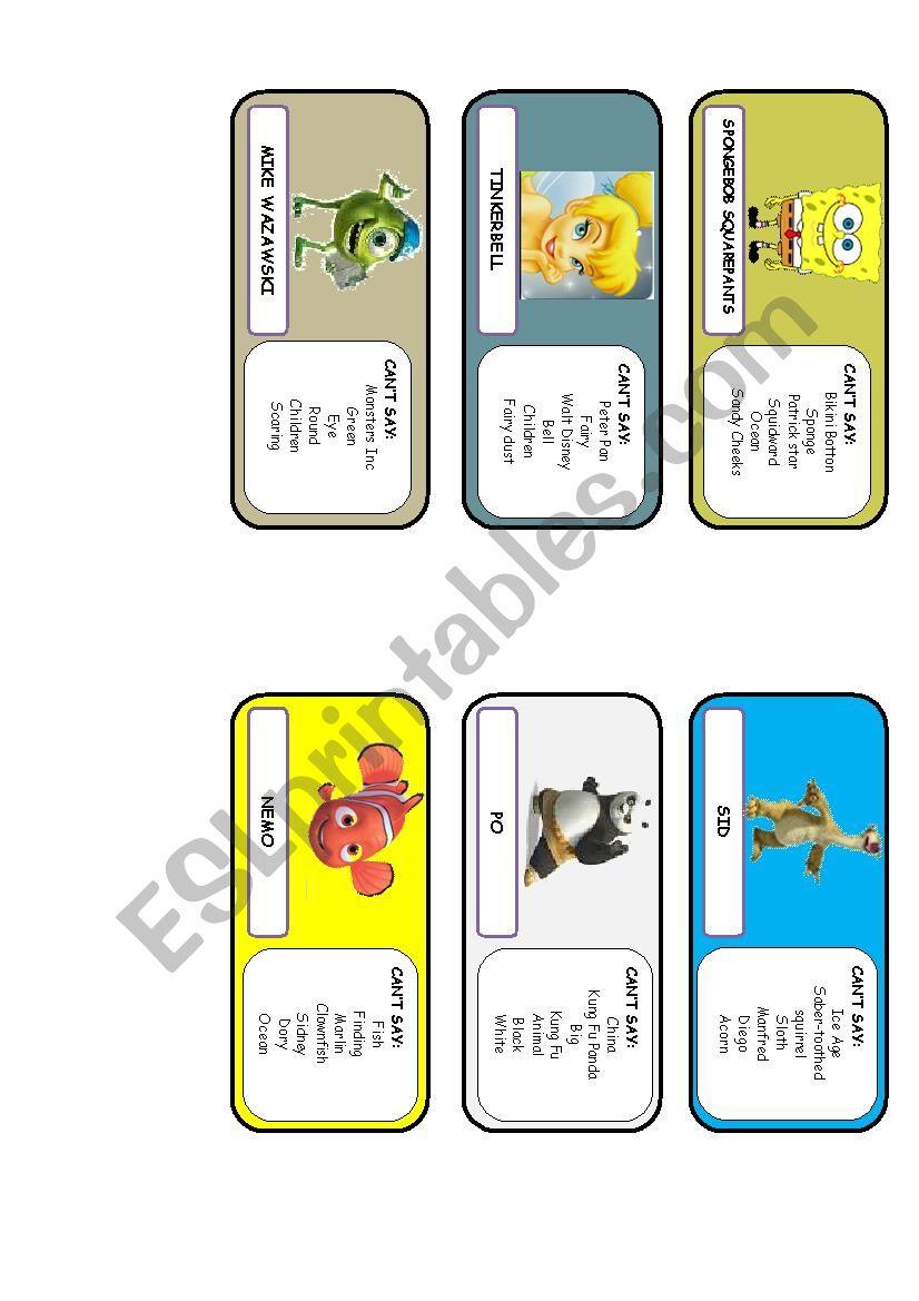 Taboo game  worksheet