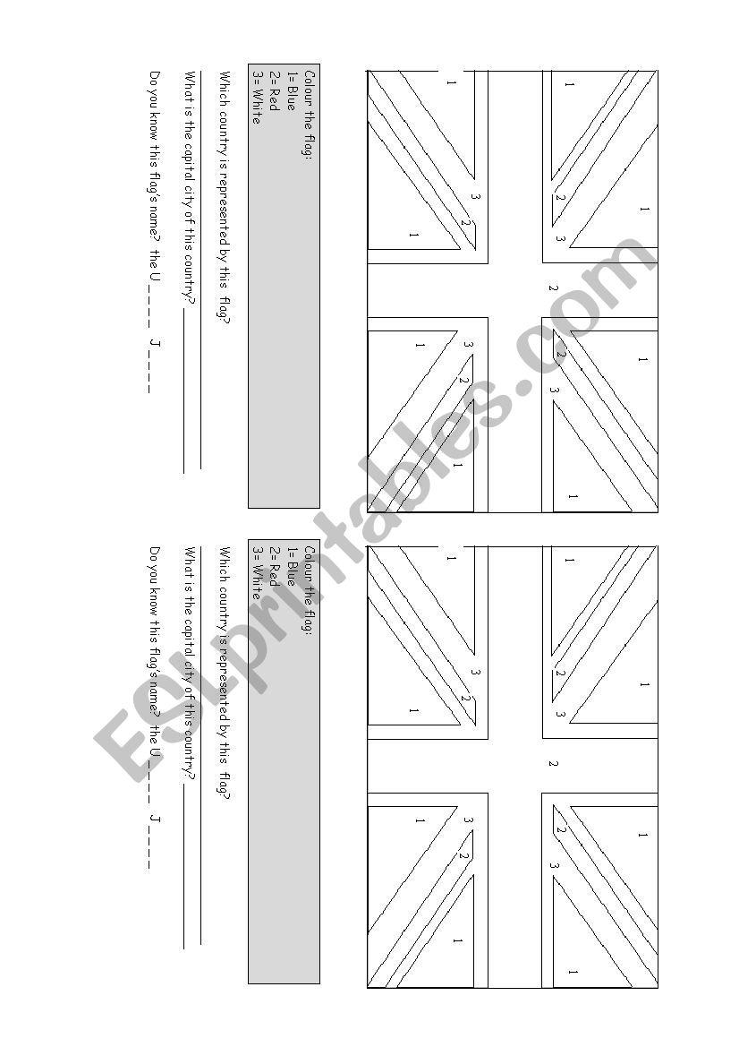Union jack to colour worksheet