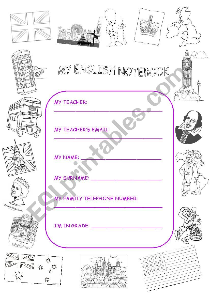 ENGLISH NOTEBOOK COVER worksheet