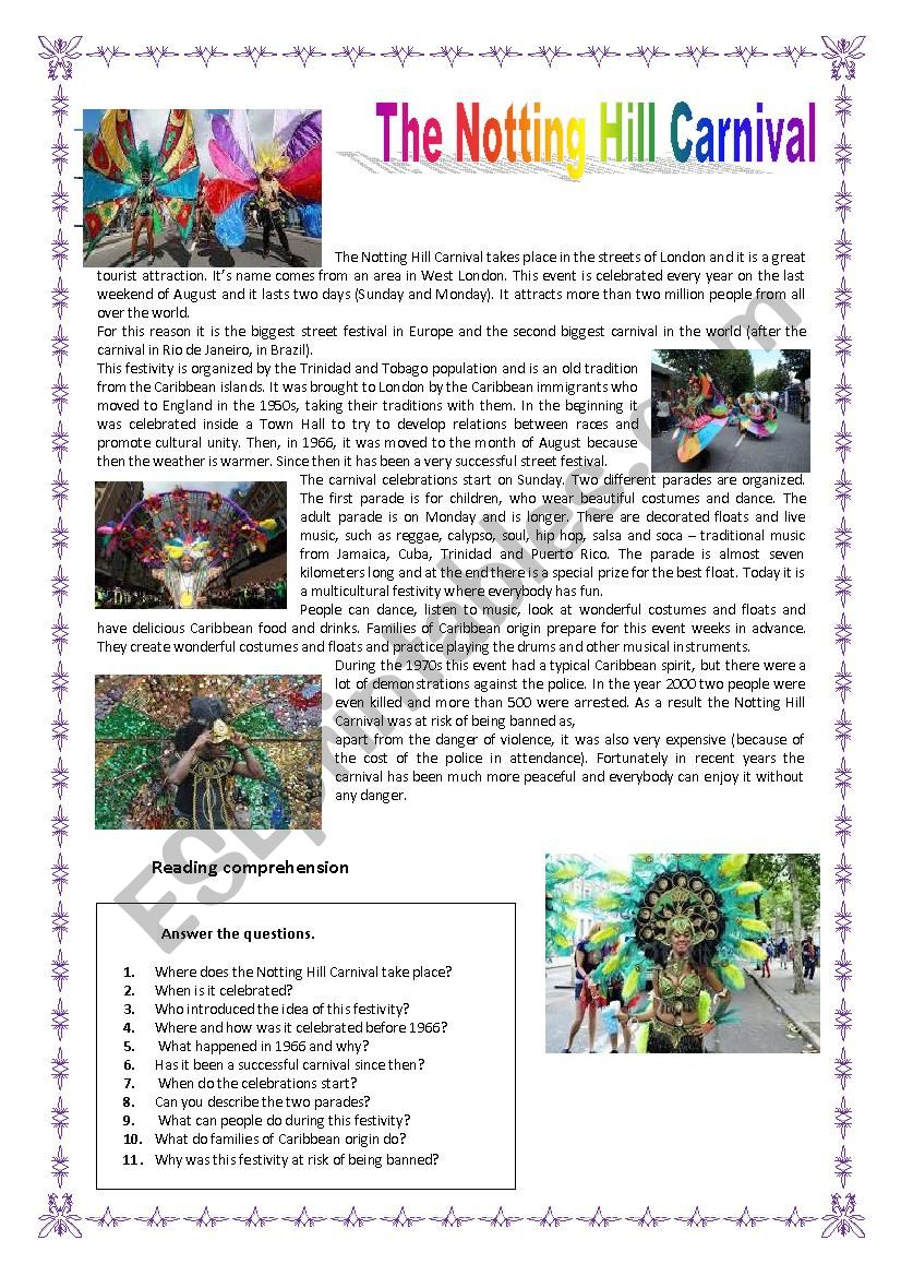 The Notting Hill Carnival worksheet