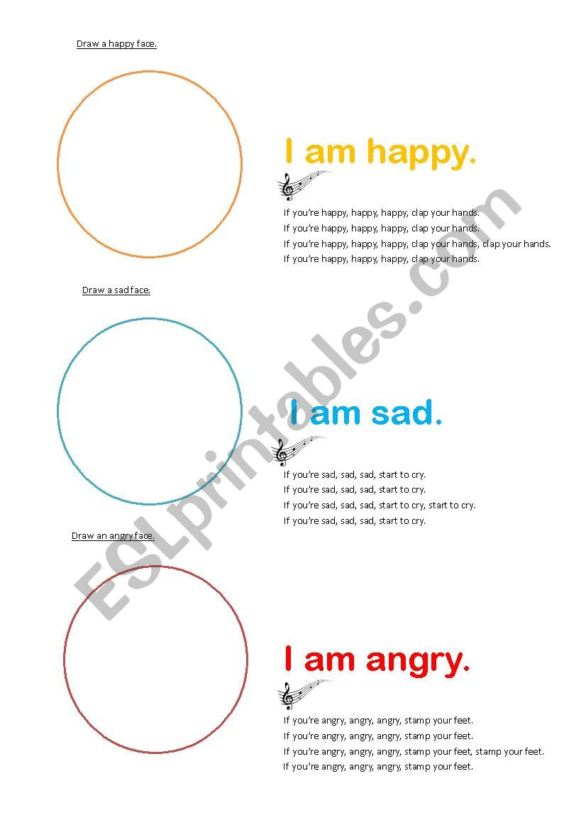 Draw The Emotions On A Face Esl Worksheet By Mattbee123