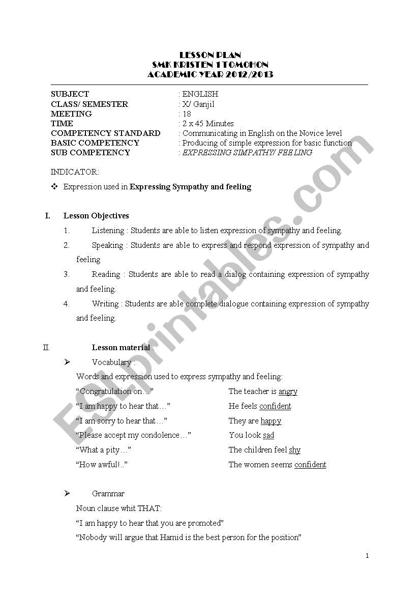 Expressing Feeling and Sympathy Lesson Plan - ESL worksheet