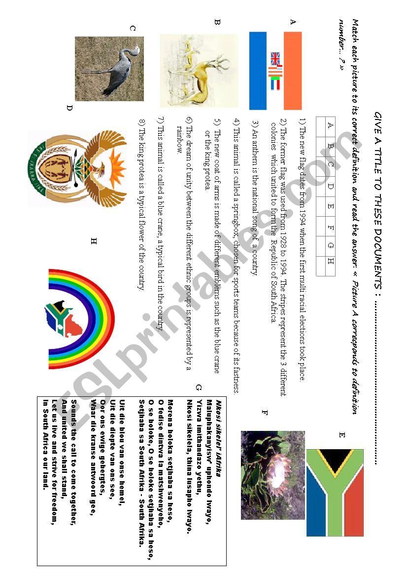 SOUTH AFRICA + SYMBOLS worksheet