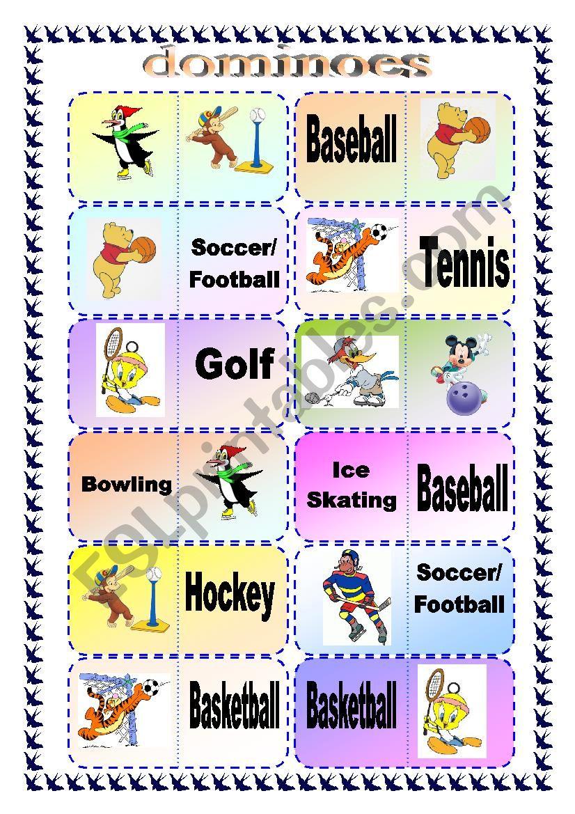 Sports Domino Game worksheet