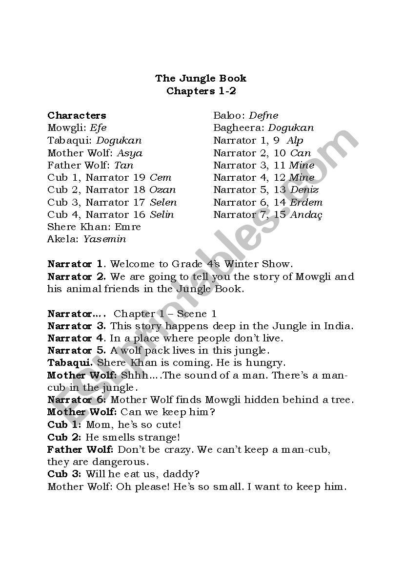 Jungle Book Script Esl Worksheet By Zohreen