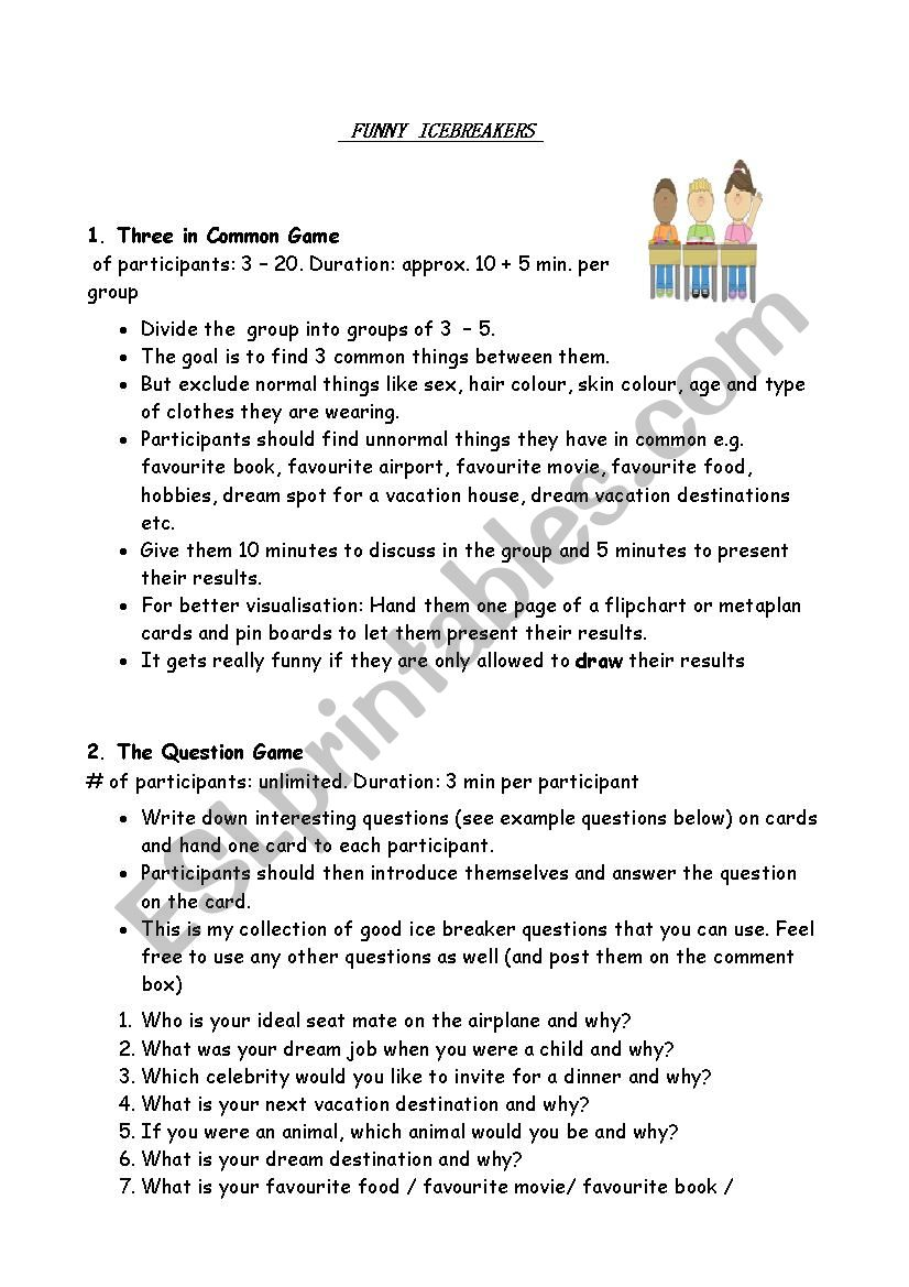 Icebreakers for all levels worksheet
