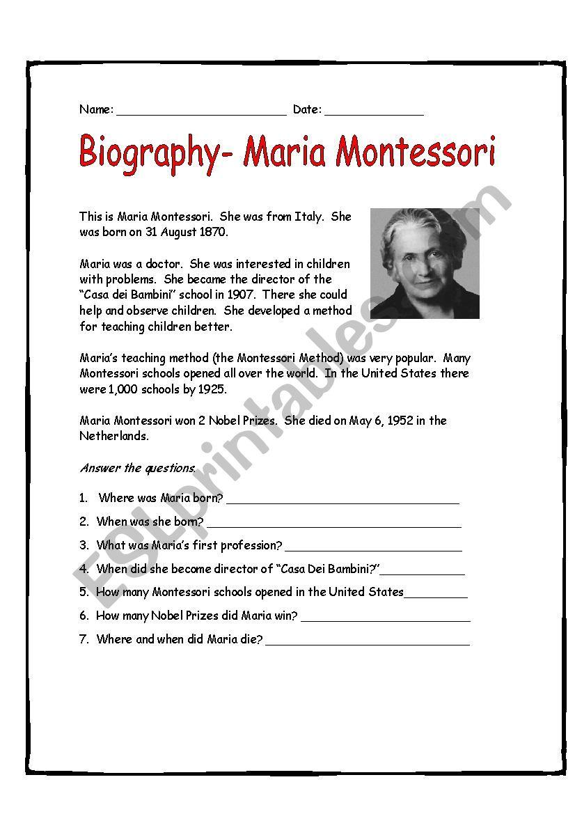 Maria Montessori Easy Biography