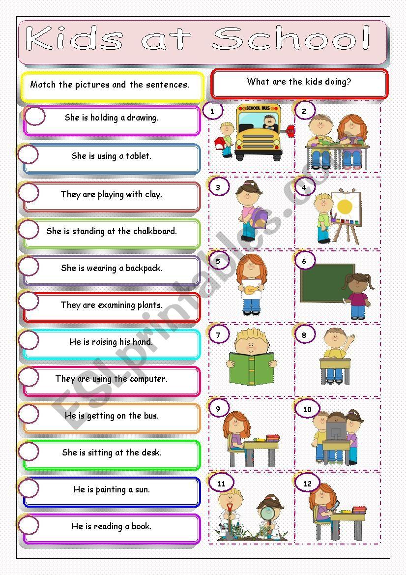 Kids at School worksheet