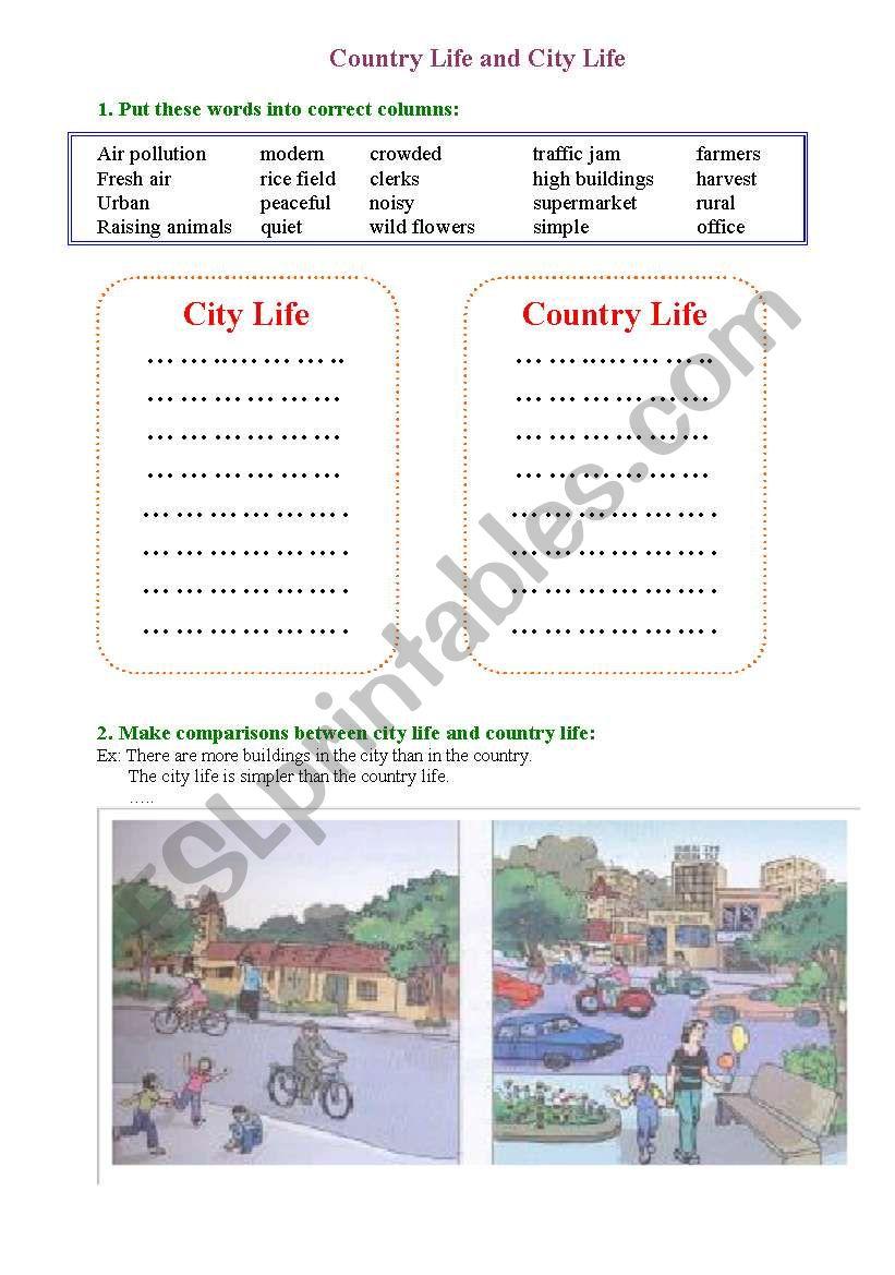 city vs country worksheet