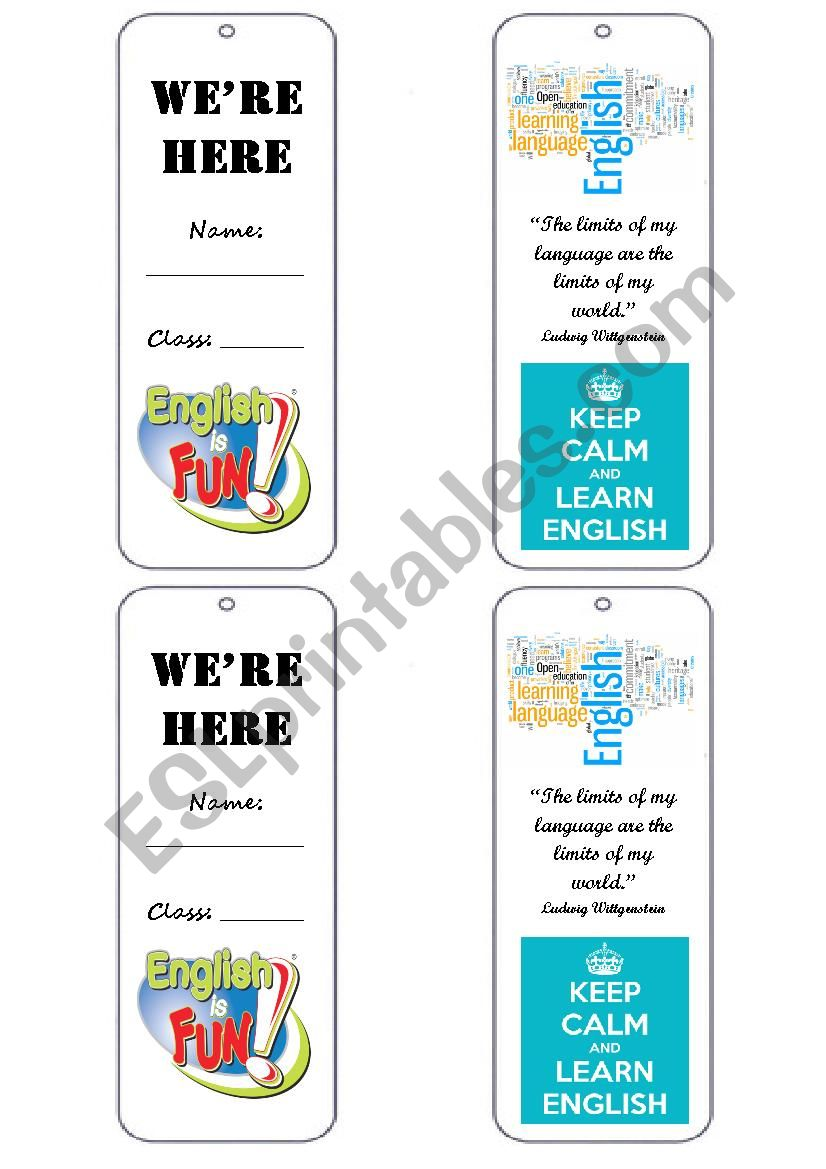 Bookmark for student´s book worksheet