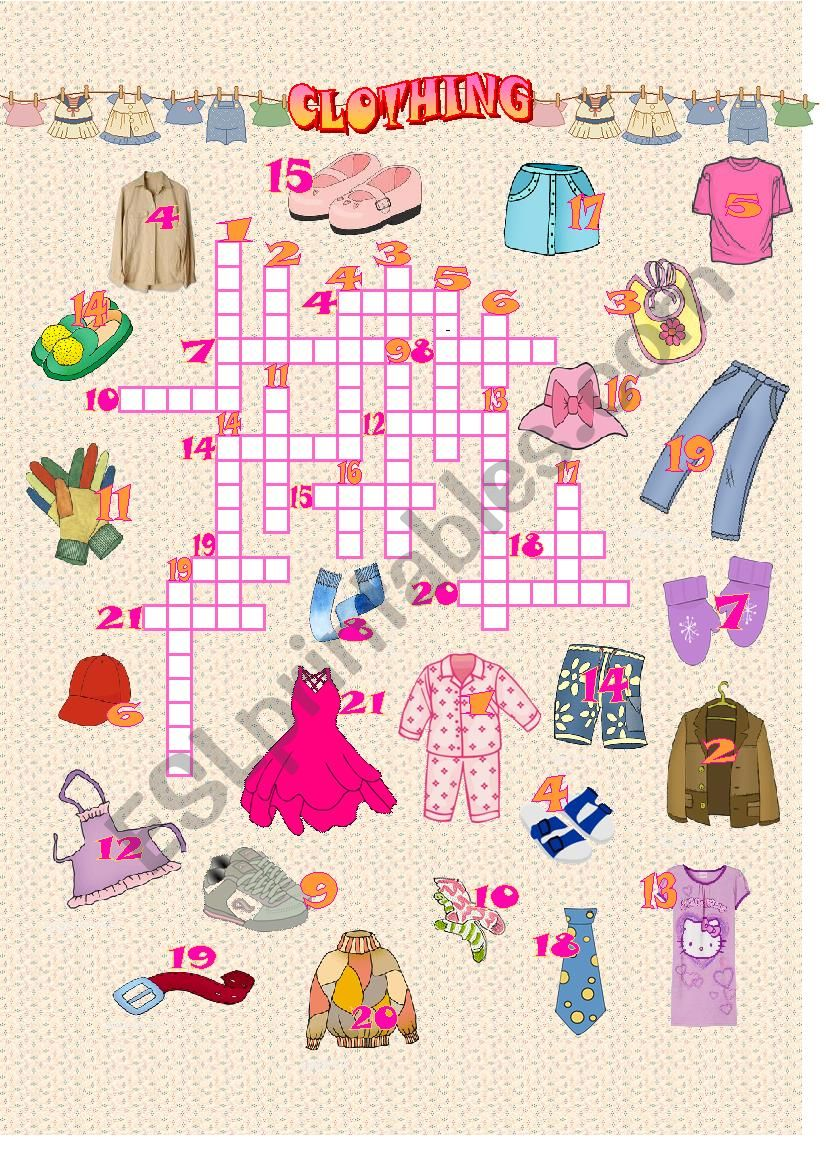 Clothes - Crossword puzzle worksheet